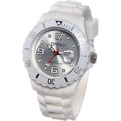 Time100 Umweltfreundliche Kreative Moderne Gelee-HerrenDamen-Armbanduhr weiss W40012M06A