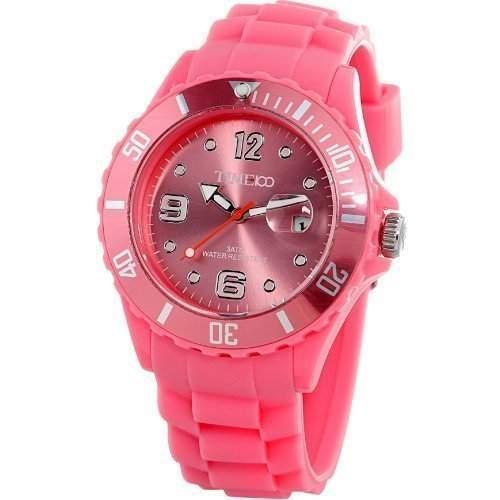 Time100 Umweltfreundliche Kreative Moderne Gelee-HerrenDamen-Armbanduhr Pink W40012M07A