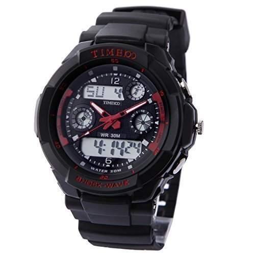 TIME100 Digitaluhr Herren Wasserdicht Silikon Sport Uhr Armbanduhr fuer Damen Outdoor Rot #W40017M02A