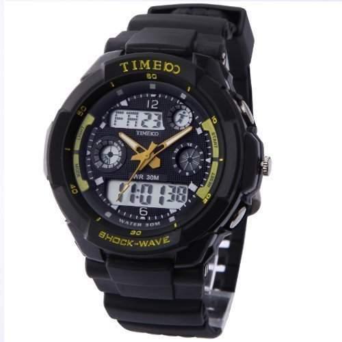TIME100 Digitaluhr Herren Wasserdicht Sport Uhr Armbanduhr fuer Damen Outdoor Silikon Schwarz #W40017M03A