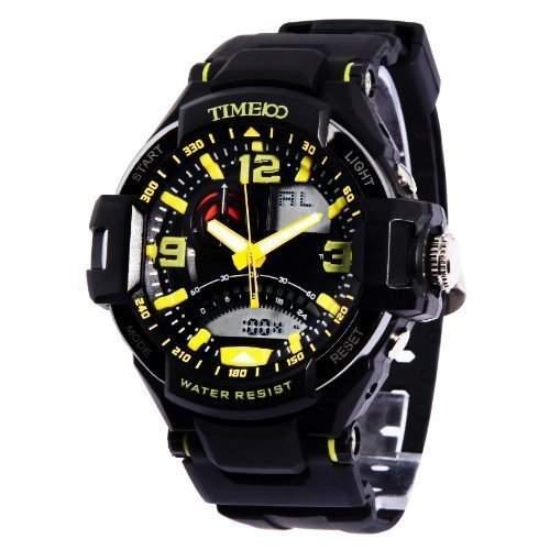 TIME100 LED Ana-Digi-Anzeige Multifunktions-Gelb Zahlen Sport elektronische Uhr # W40103G06A