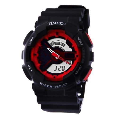 TIME100 LED Doppelzeit -Anzeige Multifunktions-Sport-Schwarz Rot elektronische Uhr # W40104G03A