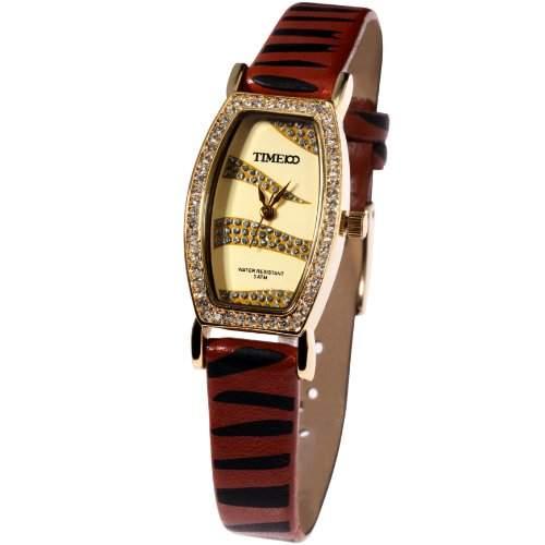 Time100 Charakteristische Scheinende Strass-Damen-Armbanduhr mit Leopard-Lederband W50042L01A