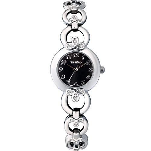 Time100 Damenuhr Schwarz Edelstahl Damen-Armbanduhr mit Hakenschloss W50053L02A