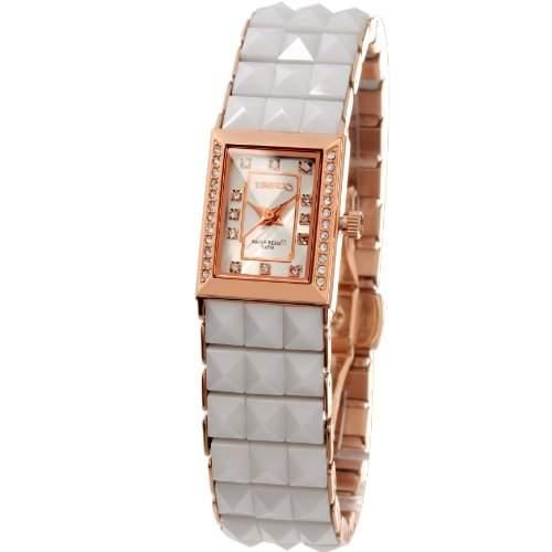 Time100 Koreanische Strass-Damen-Armbanduhr mit Keramiken-Armband W50055L01A