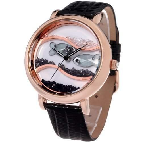Time100 Wasserdichte Armbanduhr mit Lederband und Kristallglas-Ozean-Fisch-Musterung W50059L02A