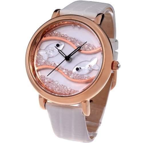 Time100 Wasserdichte Armbanduhr mit Lederband und Kristallglas-Ozean-Fisch-Musterung W50059L03A