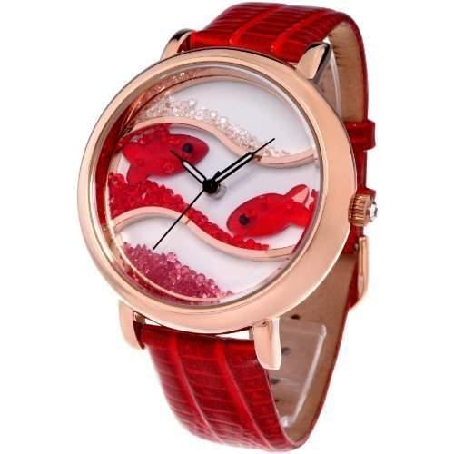 Time100 Wasserdichte Armbanduhr mit Lederband und Kristallglas-Ozean-Fisch-Musterung W50059L04A