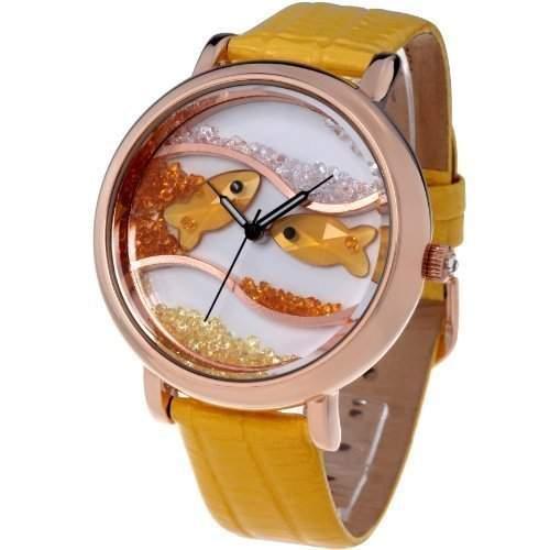 Time100 Wasserdichte Armbanduhr mit Lederband und Kristallglas-Ozean-Fisch-Musterung W50059L05A