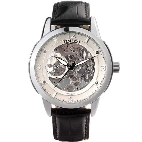 Time100 herrenuhr automatik leder Automatik-Armbanduhr mit skelettiertem Zifferblatt W60005G02A