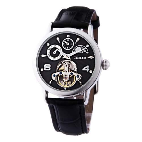 Time100 Herrenuhr Automatikuhr mechanischen skelettierten Uhrwerk Leder #W60011M02A