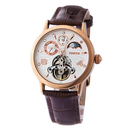 Time100 Herrenuhr Damenuhr Armbanduhr mechanischen skelettierten Uhrwerk Leder #W60011M03A