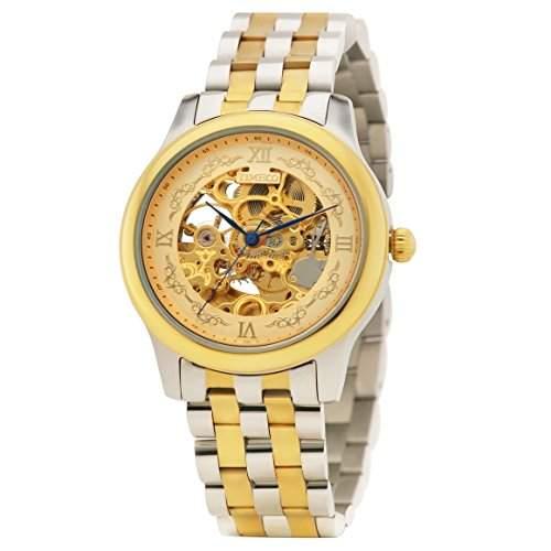 Time100 Herrenuhr Automatik Edelstahl Saphirglas Armbanduhr Mechanisch Skelettuhr Wasserdicht Analog Gold #W60099G01A