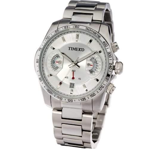 Time100 Herren Armbanduhr Quarz Uhr Sportuhr fuer Mann mit Datumszeiger Edelstahl Silber 5 Bar Wasserdicht W70001G03A