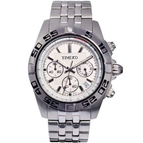 Time100 Herren Chronographuhr Quarzuhr Edelstahl mit Datum Silber 5 Bar Wasserdicht W70002G02A