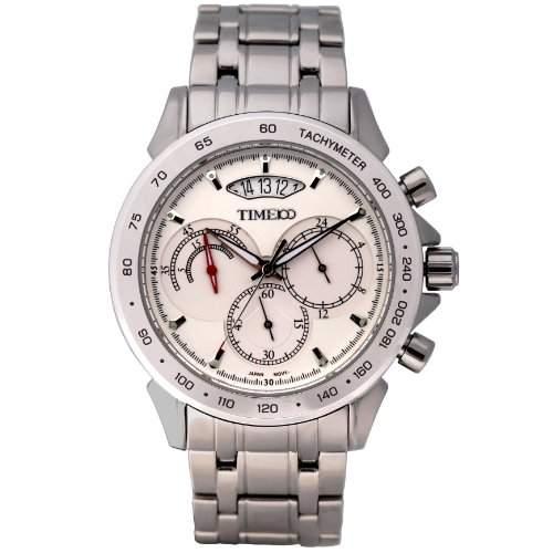 Time100 Herrenchronographuhr Armbanduhr Uhr Quarz Edelstahl mit Datum Silber 5 Bar Wasserdicht W70003G02A