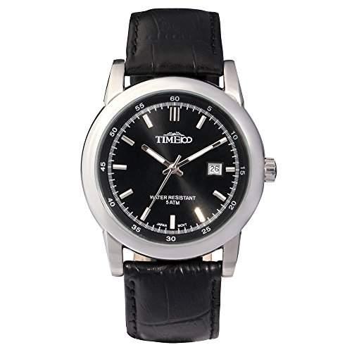 Time100 Klassische Business-Herren-Armbanduhr mit Lederband und Kalenderfunktion W70005G01A
