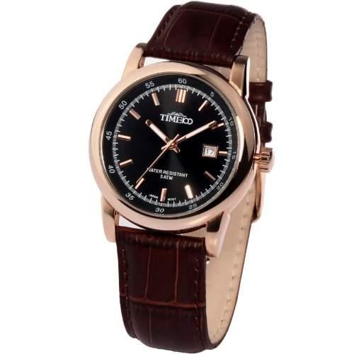 Time100 Klassische Business-Herren-Armbanduhr mit Lederband und Kalenderfunktion W70005G03A