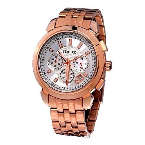 Time100 Herrenuhr Edelstahl Gold Chronograph Uhr mit Kalender W70006G03A