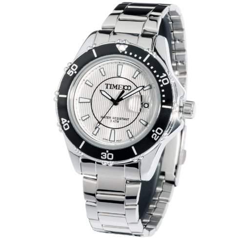 Time100 Leuchtende Business-Freizeit-Streifen-Herren-Armbanduhr W70008G03A
