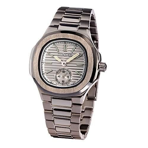 Time100 Herren Chronographuhr Armbanduhr Edelstahl Quarzuhr Viereckig Uhr 5 Bar Wasserdicht Weiss #W70009G01A