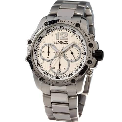 Time100 Herren Chronographuhr Quarzuhr Armbanduhr Herrenuhr Edelstahl Weiss #W70010G02A