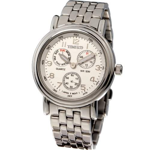 Time100 Herrenchronograph Uhr Armbanduhr Herrenuhr Quarz Edelstahl Weiss W70011G01A