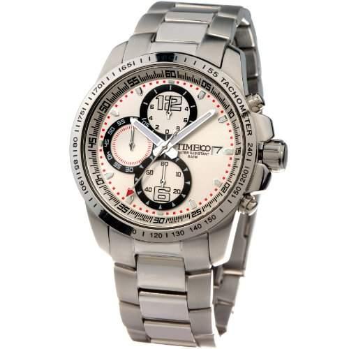 Time100 Herren leuchtend Armbanduhr Chronographuhr Qaurzuhr Edelstahl Uhr mit Datum Weiss #W70014G01A