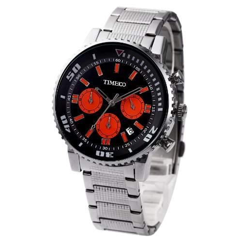 Time100 Herrenchronograph Armbanduhr Leder mit Kalender Orange #W70067G02A