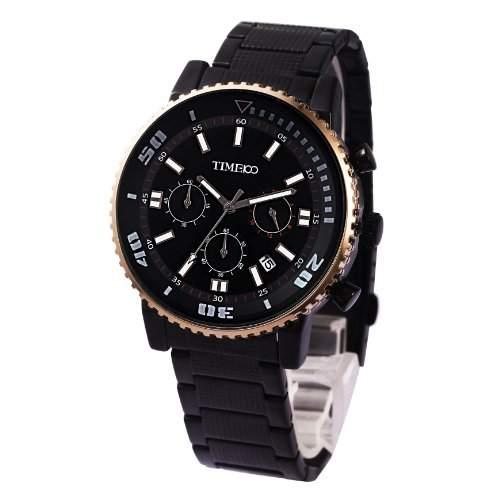 Time100 Herrenchronograph Armbanduhr Leder mit Kalender Schwarz #W70067G03A