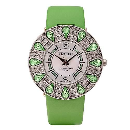 Time100 Romantische Damen-Armbanduhr mit tropfenfoermigen Strassen, Muschel-Zifferblatt und Lederband W80015L02A