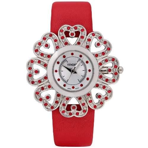 Time100 Moderne Damen-Armbanduhr mit Sonnen-Maserung rot W80017L01A