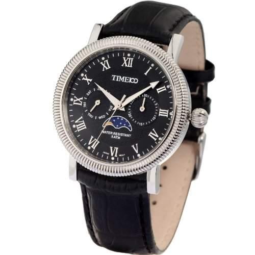 Time100 Wasserdichte Mondphase-Herren-Armbanduhr mit Zahnung-Luenette W80021G01A