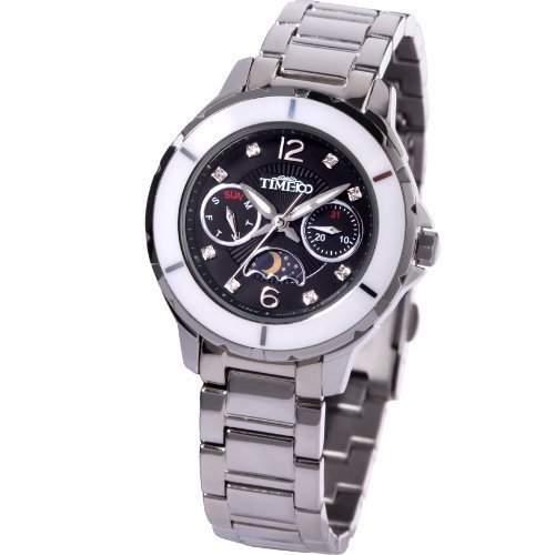 Time100 Multifunktion-Damen-Armbanduhr mit Keramiken-Luenette und Tag-Nacht-Anzeige W80028M02A
