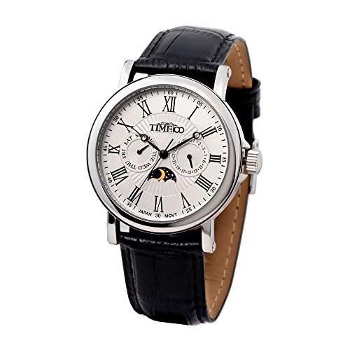 Time100 Herren-Armbanduhr mit romanischen Nummern-Skalas und Tag-Nacht-Anzeige W80035G01A