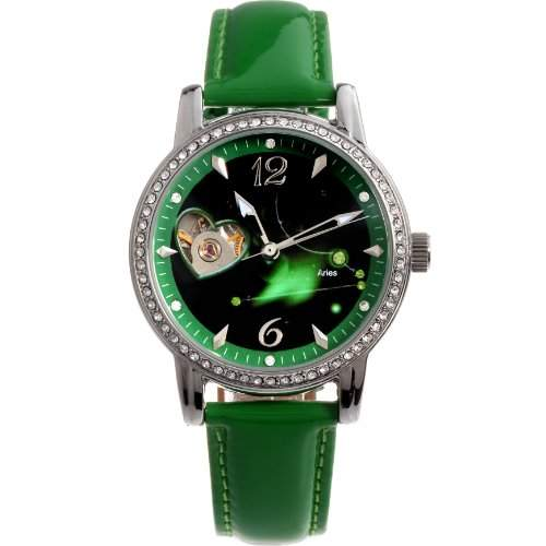 Time100 Sternzeichern Armbanduhr fuer Damen Leder Automatik Wasserdicht Analog Widder W80050L01A