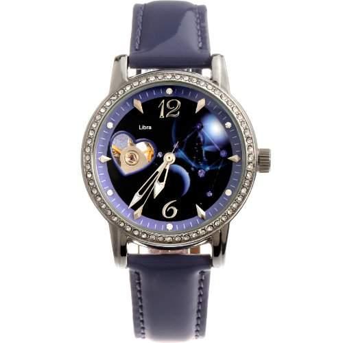 Time100 Sternbild-Serien Damen Strass Automatikuhr Analog Skelett Mechanische Maedchenuhr Armbanduhr Leder Waage #W80050L07A