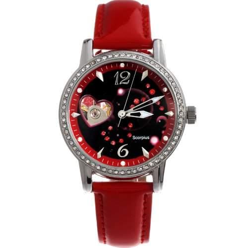 Time100 Sternbild-Serien Damen Strass Automatikuhr Analog Skelett Mechanische Maedchenuhr Armbanduhr Leder Skorpion #W80050L08A