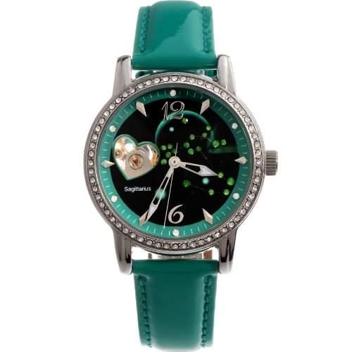 Time100 Sternbild-Serien Damen Strass Automatikuhr Analog Skelett Mechanische Maedchenuhr Armbanduhr Leder Schuetze #W80050L09A