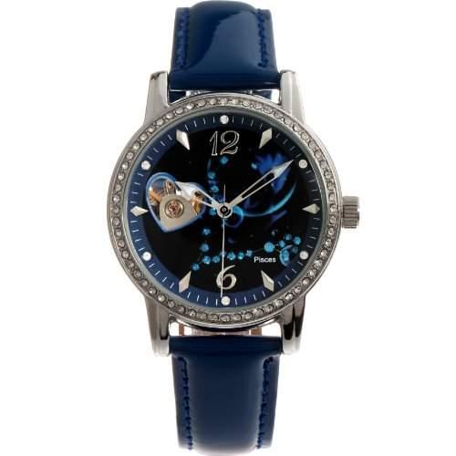 Time100 Sternbild-Serien Damen Strass Automatikuhr Analog Skelett Mechanische Maedchenuhr Armbanduhr Leder Fische #W80050L12A