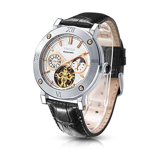 Time100 Automatik Wasserdicht Chronograph Saphirglas Skelett Lederarmband Schwarz Uhr Mechanische 5 Bar Wasserdicht Weiss W60052G 02A