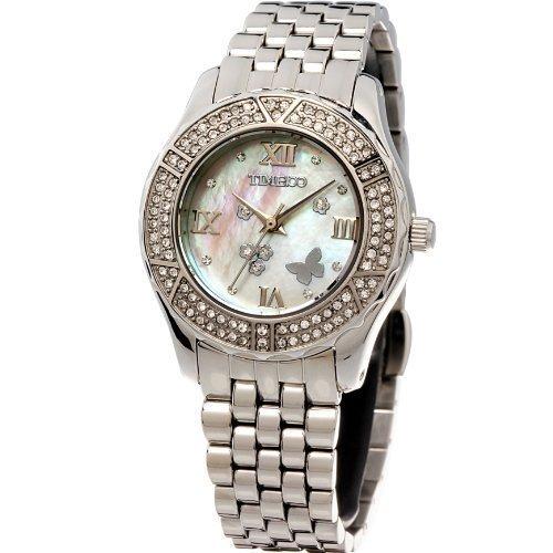 Time100 Wasserdichte Edelstahl mit farbigem Muschel Zifferblatt und Swarovski Diamanten W50054L 01A
