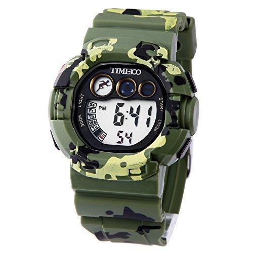 TIME100 Wasserfest Sportuhr Unisex Armbanduhr Camouflage Multifunction Digitale Quarz W40019M 01A