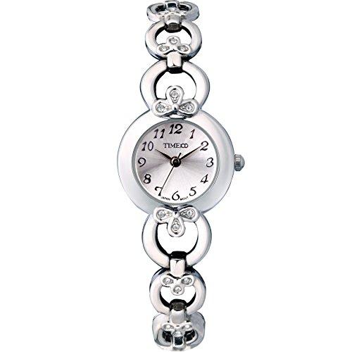 Time100 rundes Zifferblatt Edelstahl Armbanduhr mit Hakenschloss Quarz Analog Weiss W50053L 01A
