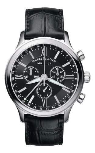 Maurice Lacroix Herrenuhr Quarz Chronograph Zifferblatt schwarz Lederband LC1098-SS001-31G