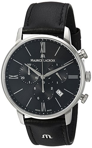 Maurice Lacroix Maennern Eliros Quarz Edelstahl und Leder Casual Uhr Farbe Schwarz Modell el1098 ss001 310 1