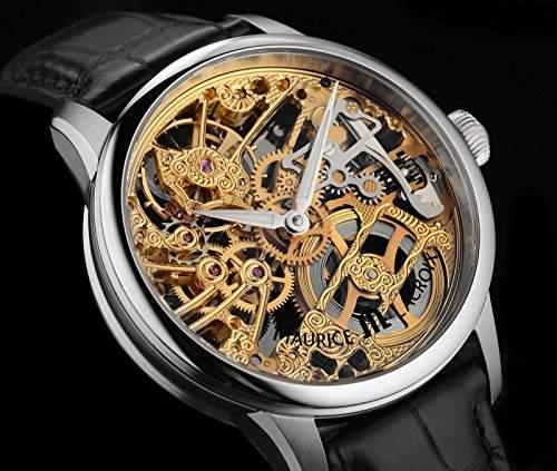 Masterpiece Squelette Tradition Skelett Herrenuhr Stahl-Gold bicolor Krokoleder schwarz