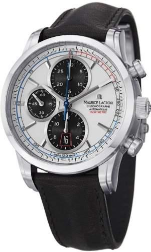 Maurice Lacroix Pontos Chrono Retro Automatik Uhr, Edelstahl, Weiss