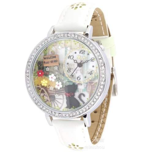 ufengke® luxus nett armbanduhren fuer damefrauenmaedchen-weisses band katze blume willkommen thema