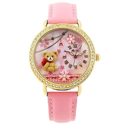ufengke® mode schoene 3d-polymer clay baer blumen maedchen kleid armbanduhren,roemische ziffern strass leucht handgelenk armbanduhren-pink
